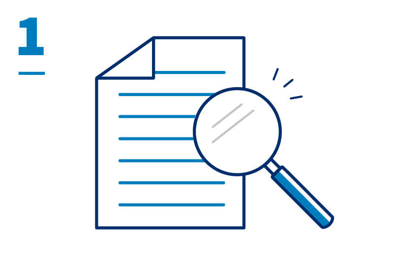 Document and magnifying glass