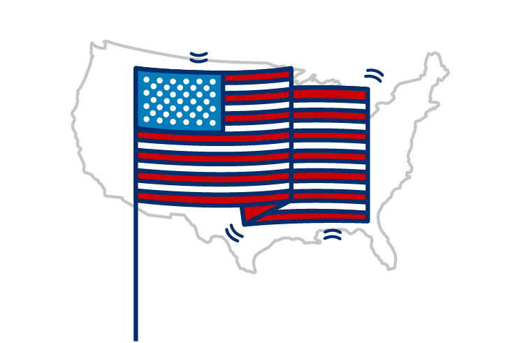 A U.S. flag over an image of the country.