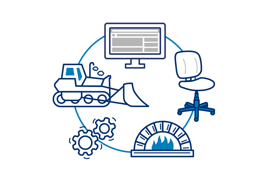 Graphic of a computer screen, office chair, oven, and bulldozer