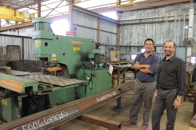 William Lo, Crystal Steel President (Left) takes a moment on the shop floor with Crystal Steel Executive Vice President Emad Mohamed (Right)