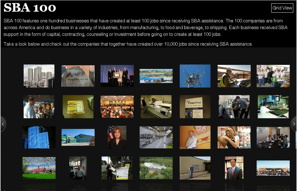 Screenshot of SBA 100 gallery. Click here to visit.