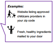Website listing approved childcare providers in your zip code.  Fresh, healthy ingredients mailed to your door.